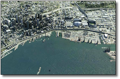 3D Render of Seattle, 1 deformed poly, 1 3mb image, and 1 3mb lidar map